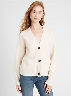 Oversized Blouson-Sleeve Cardigan Sweater