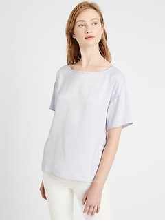 Petite Relaxed Washed Satin Top