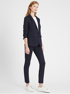 Unstructured Plaid Blazer