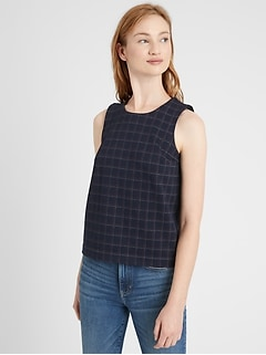 Plaid Cropped Shell