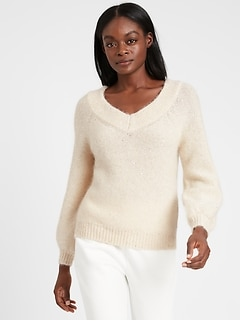 Petite Sequin V-Neck Sweater