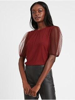 Tulle Puff-Sleeve Top