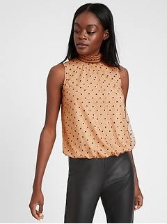 High-Neck Cropped Tulle Top