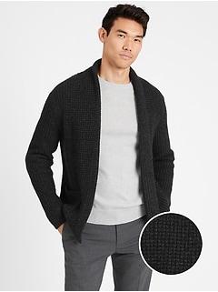 Waffle-Knit Cardigan Sweater