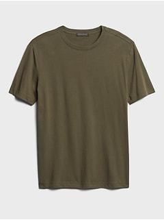 T-shirt ras du cou en coton biologique au fini soyeux