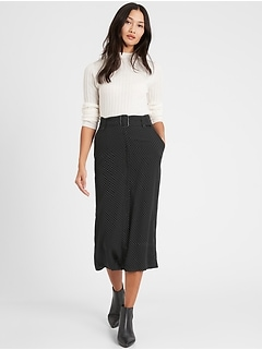 Heritage Button-Front Midi Skirt