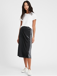 Velvet Bias-Cut Midi Skirt