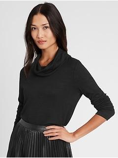 T-shirt à col cagoule en tricot moelleux