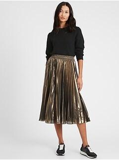 Petite Metallic Pleated Midi Skirt