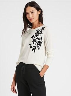 Washable Merino Floral Sweater