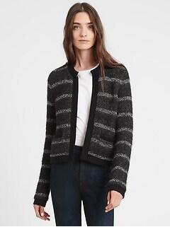 Collarless Sweater Jacket
