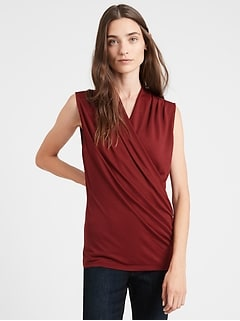 Petite Wrap-Effect Top