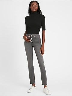 Petite High-Rise Slim Button-Fly Jean