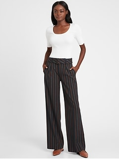 Petite High-Rise Slim Wide-Leg Pant