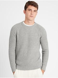 Italian Wool-Blend Waffle-Knit Sweater