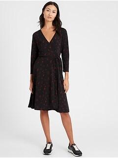 Wrinkle-Resistant Wrap Dress