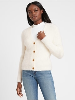 Fuzzy Cropped Cardigan Sweater