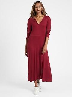 Petite Ribbed-Knit Midi Dress