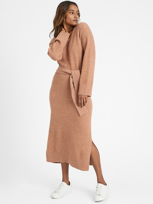 Flare-Sleeve Sweater Dress