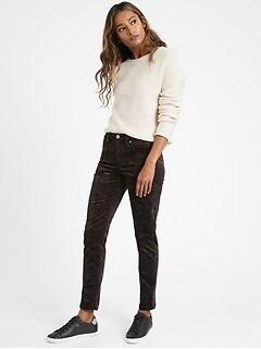 Mid-Rise Skinny Paisley Velvet Pant