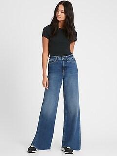 Petite High-Rise Wide-Leg Jean with Raw Hem