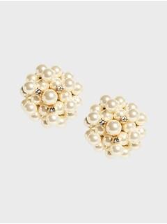 Pearl Cluster Stud Earrings