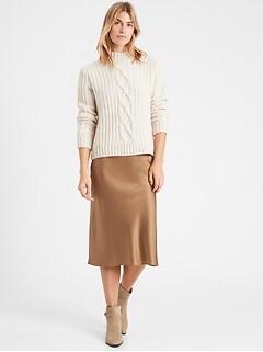 Heritage Washable Silk Bias-Cut Skirt