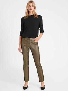 Mid-Rise Skinny Metallic Sloan Pant
