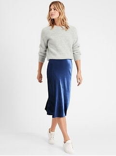 Velvet Bias-Cut Midi Skirt