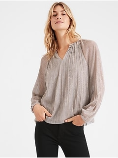 Petite Metallic Balloon-Sleeve Top