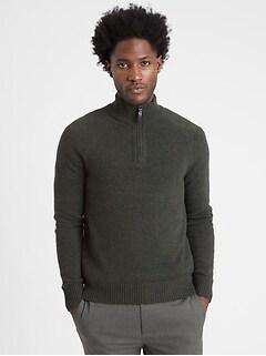 Italian Wool-Blend Half-Zip Sweater