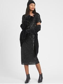 Sequin Bias-Cut Midi Skirt