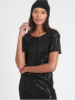 Petite Sequin Scoop-Neck Top