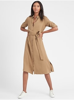 Petite TENCEL™ Midi Shirt Dress