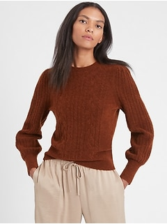 Petite Cable-Knit Puff-Sleeve Sweater