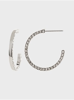 Pavé Detail Hoop Earrings