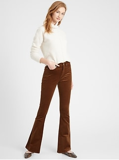 Petite High-Rise Flare Stretch-Corduroy Pant