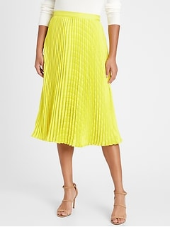 Petite Pleated Midi Skirt