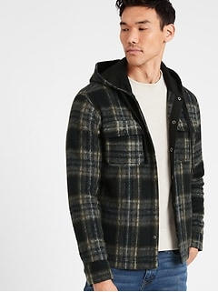 Plaid Hooded Shirt Jacket