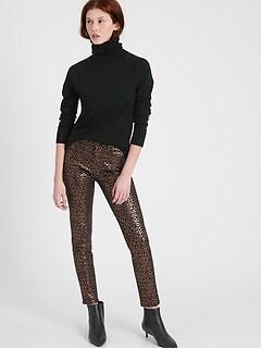 Mid-Rise Skinny Metallic Leopard Jean