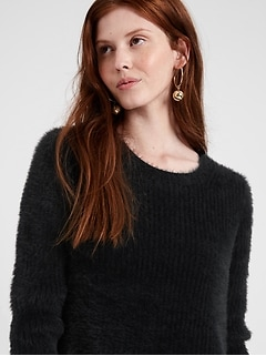 Fuzzy Crew-Neck Sweater