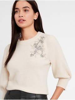 Embellished Puff-Sleeve Sweater