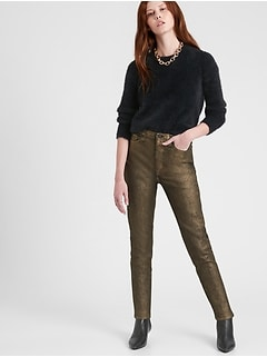 Petite High-Rise Skinny Metallic Jean