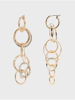 Mixed Link Linear Drop Earrings