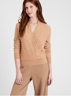 Petite Aire Wrap-Front Sweater