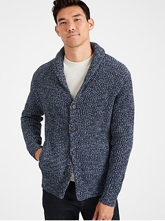 Shawl-Collar Cardigan Sweater