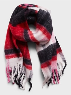Oversized  Plaid Fuzzy Scarf