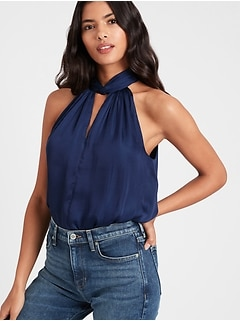Petite Satin Twist-Neck Top