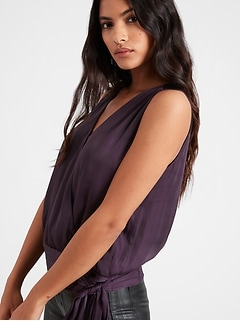 Petite Satin Sleeveless Wrap Top
