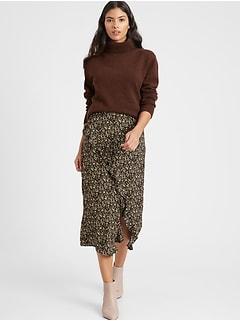 Crepe Ruffled Midi Skirt